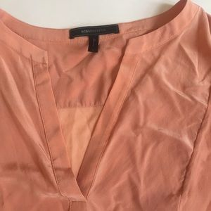BCBG MaxAzria coral peach semi sheer blouse large